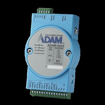 Ethernetový Daisy-chain I/O modul ADAM-6224, 4 izolované analógové výstupy, Modbus/TCP