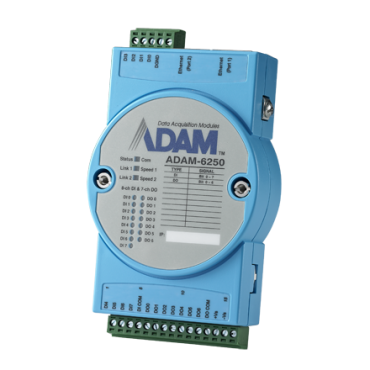 Ethernetový Daisy-chain I/O modul ADAM-6250, 15 izolovaných digitálnych vstupov/výstupov, Modbus/TCP