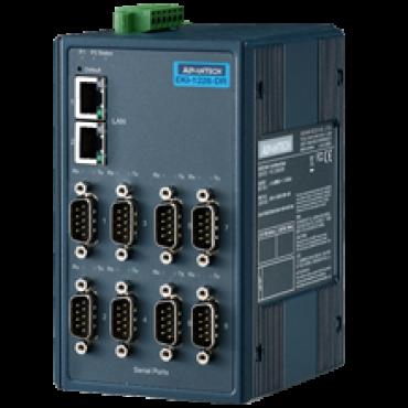 Brána Modbus EKI-1228CI-DR s 8x RS-422/485, 2x LAN, Modbus TCP/RTU/ASCII, široká prevádzková teplota -40 ~ 70°C, rozšírená izolácia