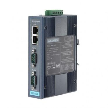 Sériový server 2xRS232/422/485 DB9 2xLAN RJ45 EKI-1522CI izolovaný s rozšírenými pracovnými teplotami