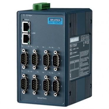 Sériový server EKI-1528I-DR s 8xRS-232/422/485 2x RJ45 LAN a rozšírenými pracovnými teplotami, na DIN lištu