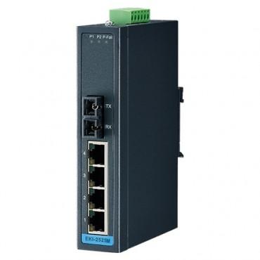 5-portový priemyselný switch EKI-2525M s 1 SC multi-mode optickým portom