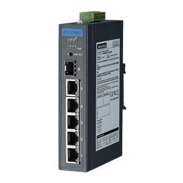 6-portový gigabitový priemyselný PoE switch EKI-2706G-1GFPI s 1 SFP portom a rozšírenými pracovnými teplotami