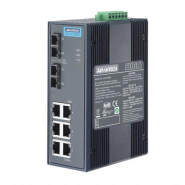 8-portový gigabitový priemyselný switch EKI-2728MI s 2xSC multi-mode optickými portami a rozšírenými pracovnými teplotami
