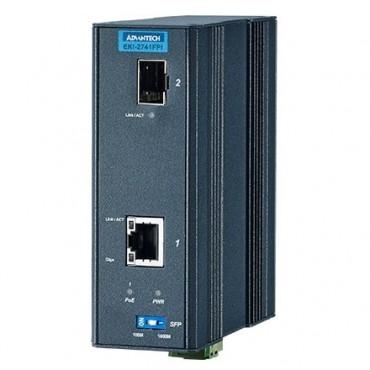 IEEE 802.3af/at gigabitový priemyselný PoE Injector EKI-2741FHPI s 1xGE, 1xSFP a rozšírenými pracovnými teplotami
