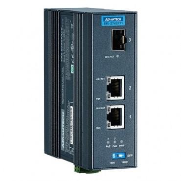 IEEE 802.3af/at gigabitový priemyselný PoE Injector EKI-2742FPI s 2xGE, 1xSFP a rozšírenými pracovnými teplotami