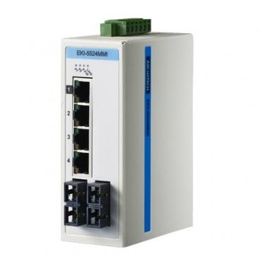 6-portový ProView switch EKI-5524MMI s 2 multi-mode SC optickými portami a rozšírenými pracovnými teplotami
