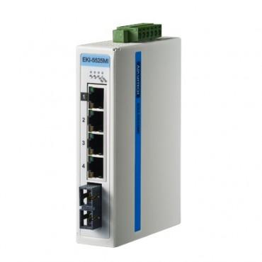 5-portový ProView switch EKI-5525MI s 1 multi-mode SC optickým portom pre a rozšírenými pracovnými teplotami
