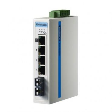 5-portový ProView switch EKI-5525SI s 1 single-mode SC optickým portom a rozšírenými pracovnými teplotami