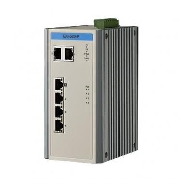 6-portový priemyselný ProView PoE switch EKI-5624P s 2 gigabitovými ethernet portami