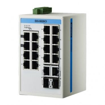 18-portový ProView switch EKI-5626CI s 2 kombinovanými gigabitovými portami a rozšírenými pracovnými teplotami