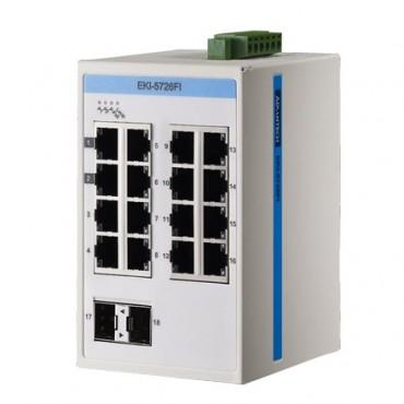 18-portový gigabitový ProView switch EKI-5726FI s 2 SFP portami a rozšírenými pracovnými teplotami