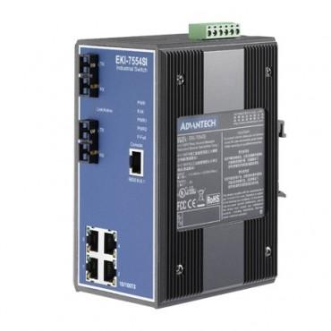 6-portový manažovateľný priemyselný switch EKI-7554SI s 2 SC single-mode optickými portami a rozšírenými pracovnými teplotami