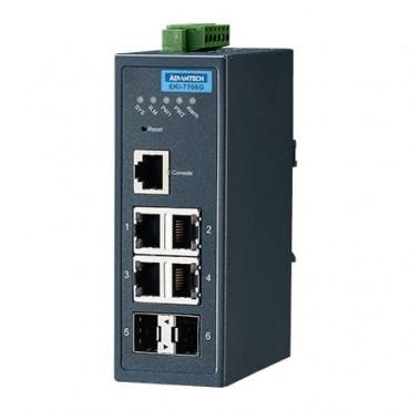 Priemyselný gigabitový manažovateľný switch EKI-7706G-2F s 4xGE, 2xSFP