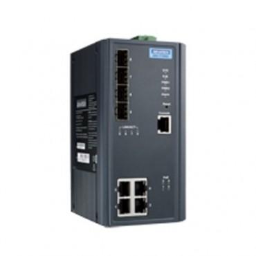 8-portový manažovateľný PoE priemyselný switch EKI-7708E-4FP s 4xFE, 4xSFP