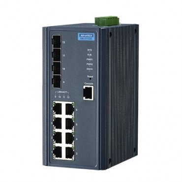12-portový manažovateľný priemyselný switch EKI-7712E-4F s 4 SFP