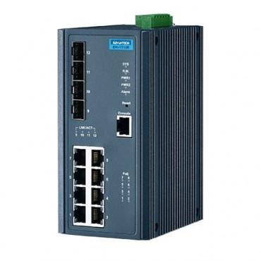 12-portový manažovateľný PoE priemyselný switch EKI-7712E-4FP s 8xFE, 4xSFP