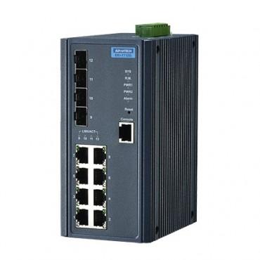 12-portový gigabitový manažovateľný priemyselný switch EKI-7712G-4F s 4 SFP