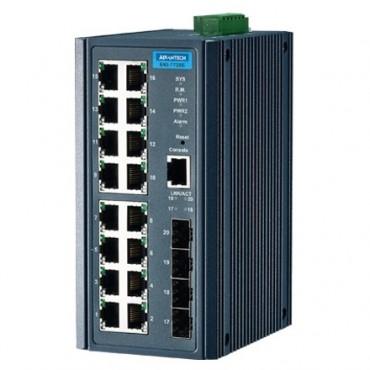 20-portový manažovateľný priemyselný switch EKI-7720E-4F s 4 SFP