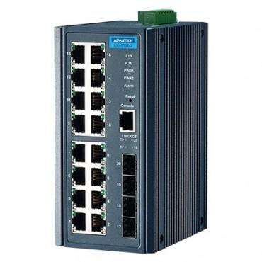20-portový gigabitový manažovateľný priemyselný switch EKI-7720G-4FI s 4 SFP a rozšírenými pracovnými teplotami