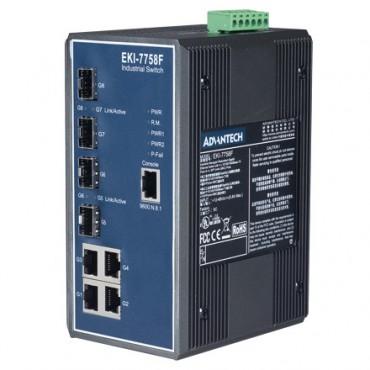 8-portový gigabitový manažovateľný priemyselný switch EKI-7758F s 4 SFP