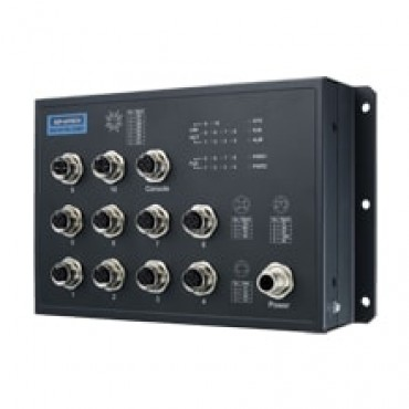 Priemyselný manažovateľný EN50155 PoE switch EKI-9510E-2GMPH s 8xFE M12 PoE, 2xGE M12, 72V/96V/110V DC
