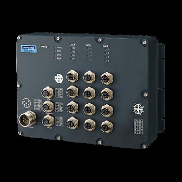Priemyselný manažovateľný EN50155 switch EKI-9512-WV, 12x GbE M12, 24/36/48/72V/96V/110 VDC