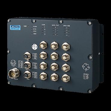 Priemyselný manažovateľný EN50155 switch EKI-9512DP-LV, 8x FE M12 s PoE/PoE+, 4x FE M12, 24V/36V/48 VDC
