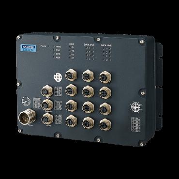 Priemyselný manažovateľný EN50155 switch EKI-9512P-HV, 8x GbE M12 s PoE/PoE+, 4x GbE M12, 72V/96V/110 VDC