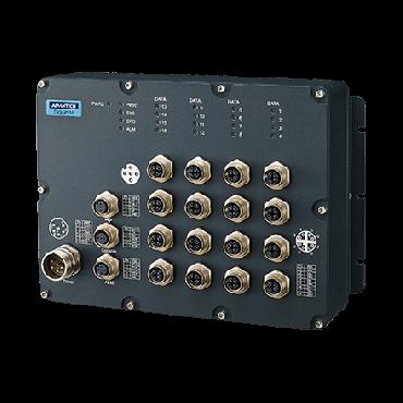 Priemyselný manažovateľný EN50155 switch EKI-9516-WV, 16x GbE M12, 24/36/48/72V/96V/110 VDC