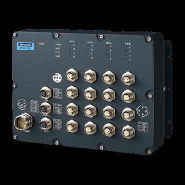 Priemyselný manažovateľný EN50155 switch EKI-9516D-WV, 16x FE M12, 24/36/48/72V/96V/110 VDC