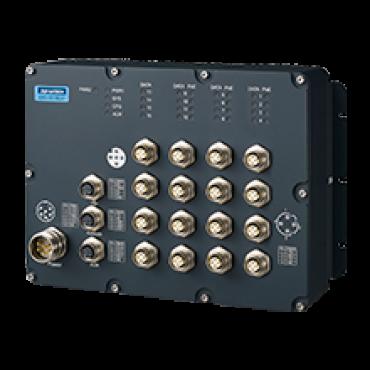 Priemyselný manažovateľný EN50155 switch EKI-9516DP-LV, 12x FE M12 s PoE/PoE+, 4x FE M12, 24V/36V/48 VDC