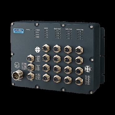 Priemyselný manažovateľný EN50155 switch EKI-9516P-LV, 12x GbE M12 s PoE/PoE+, 4x GbE M12, 24V/36V/48 VDC