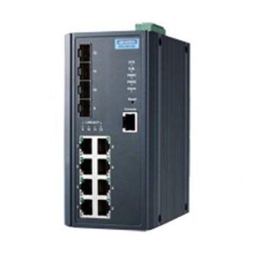 Priemyselný manažovateľný L3 switch EKI-9612G-4FI s 8xGE, 4xSFP a rozšírenými pracovnými teplotami
