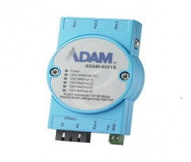 5-portový priemyselný switch ADAM-6521S s 1 SC single-mode optickým portom