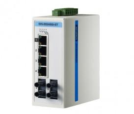 6-portový ProView switch EKI-5524SSI-ST s 2 single-mode ST optickými portami a rozšírenými pracovnými teplotami