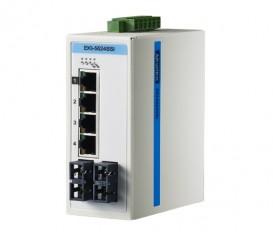 6-portový ProView switch EKI-5524SSI s 2 single-mode SC optickými portami a rozšírenými pracovnými teplotami