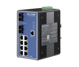 10-portový manažovateľný priemyselný switch EKI-7559MI s 2 SC multi-mode optickými portami a rozšírenými pracovnými teplotami