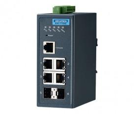 Priemyselný manažovateľný switch EKI-7706E-2FI s 4xFE, 2xSFP a rozšírenými pracovnými teplotami