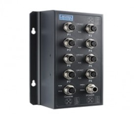 Priemyselný L2 manažovateľný EN50155 PoE switch EKI-9508E-MPL s 8xFE M12 s PoE/PoE+, 24V/48V DC