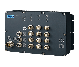 Priemyselný manažovateľný EN50155 switch EKI-9512D-WV, 12x FE M12, 24/36/48/72V/96V/110 VDC