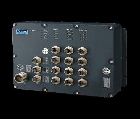 Priemyselný manažovateľný EN50155 switch EKI-9512P-LV, 8x GbE M12 s PoE/PoE+, 4x GbE M12, 24V/36V/48 VDC